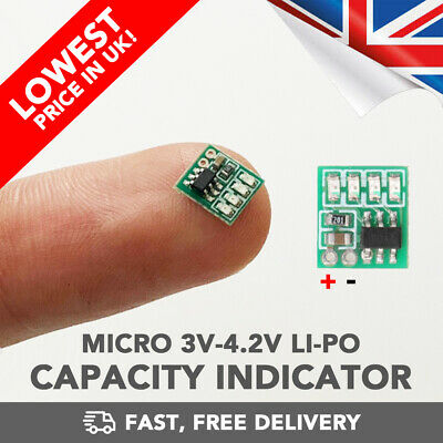 AU10.87 • Buy LiPo Battery Micro Voltage Charge LED Indicator 3.7v - RC Drone - UK