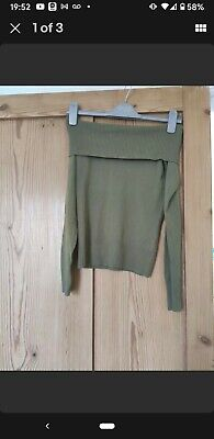 £0.99 • Buy Zara Green Size Small Off The Shoulder Jumper