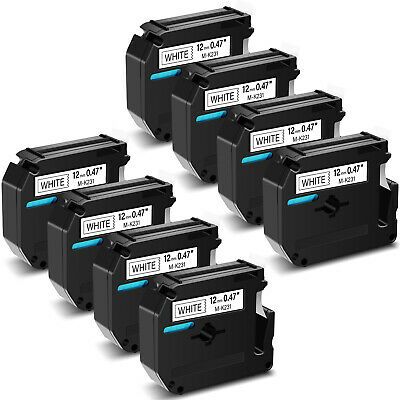 $19.99 • Buy 8 Pack M231 MK231 M-K231 Black On White Label Tape For Brother P-touch 12mm 1/2