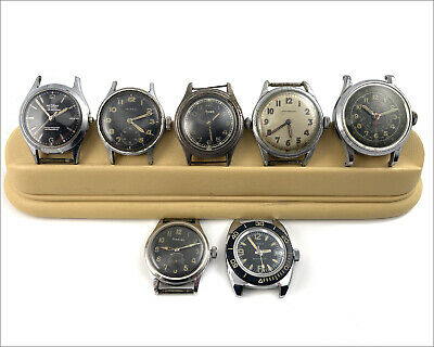 $ CDN133.84 • Buy Lot Of  7 Vintage Military Mechanical Watches AS IS Watchmakers Estate - Swiss -