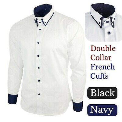 £12.95 • Buy Men's Double Collar Shirt Wedding White Dinner Tailored French Cuff Navy Blue