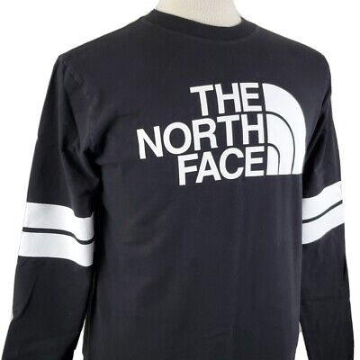 AU53.44 • Buy The North Face Spell Out Black Long Sleeve T-Shirt Medium Crew Pullover Stripes