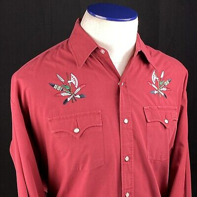 $22.99 • Buy HIGH NOON Mens Vintage Western Pearl Snap Shirt Embroidered Native American