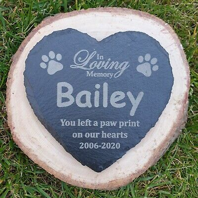 £5.95 • Buy Personalised Dog / Pet Memorial Heart Slate Sign, Plaque, Tombstone Grave Marker