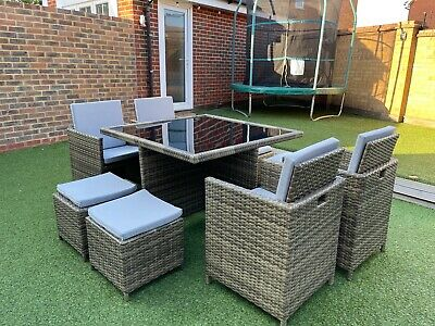 £475 • Buy RATTAN GARDEN FURNITURE CUBE SET 4x CHAIRS, 4x STOOLS & TABLE OUTDOOR PATIO