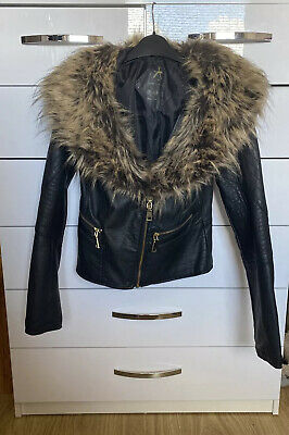 £6.50 • Buy Atmosphere Black Faux Leather Fur Collared Gold Zip Jacket Size 6