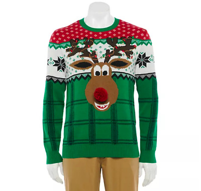$24.99 • Buy Ugly Christmas Sweater Reindeer Poopermints Red Green Pom Pom Nose Mens XL