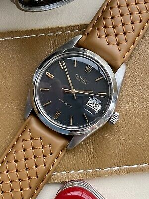 £2499 • Buy Rolex Oysterdate Precision 6694 Used Vintage Black Dial Men's Leather 34mm Watch