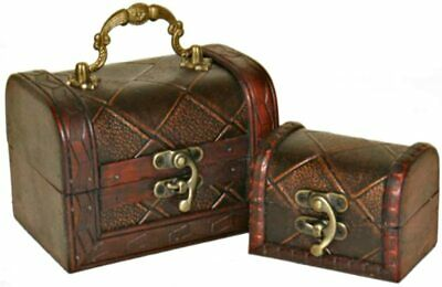 £8.99 • Buy Set Of 2 Colonial Wooden  Diamond  Treasure Chest Style Storage Trinket Boxes