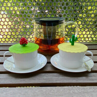£4.74 • Buy 2pcs Silicone Cup Lid Glass Drink Cover Anti-dust Coffee Mug Suction Seal Lid =Q