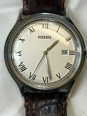 $ CDN25.52 • Buy Fossil Men's 44.5mm Quartz Watch FS-4737 Brown Leather Band Beige Dial With Date