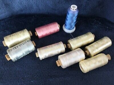 $11 • Buy 9 Spools Embroidery, Sewing, Machine Thread Needlecraft Lot Of 9 As Shown