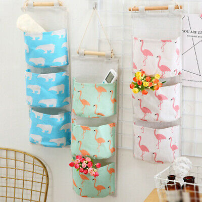 £6.35 • Buy Hanging Storage Bag 3 Pockets Wall Mounted Wall Pouch Cosmetic Toys Organizer