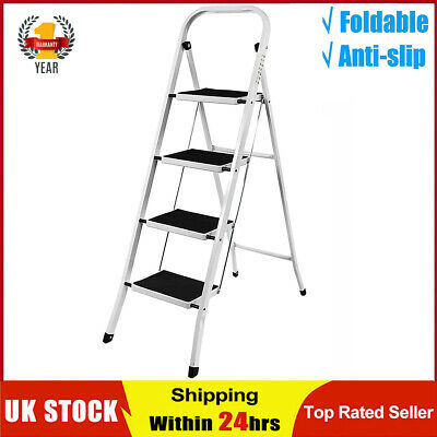 £21.59 • Buy Foldable 3 Step Ladder Non Lip Tread Safety Small Stool Steel Ladders Kitchen