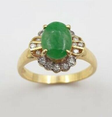 AU2000 • Buy Ring 18ct Yellow Gold Jade And Diamond With Valuation [$3000