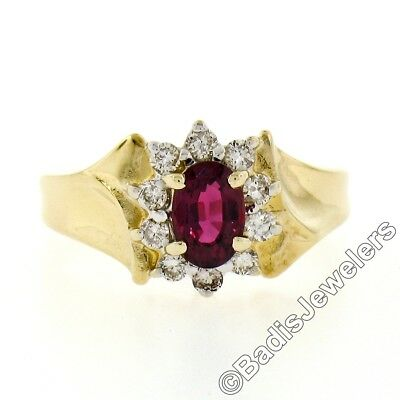 AU489.33 • Buy Petite 18K Solid Yellow Gold 0.80ctw Oval Garnet Solitaire & Diamond Halo Ring