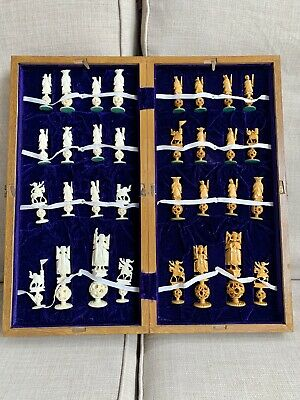 £10.51 • Buy Vintage Hand Carved Ivory Colored Chess Set Game With Wood Box Board