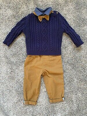 £1.99 • Buy Baby Boy Oufit 6-12 Months Trousers Shirt Knitted Jumper Bow Tie Navy Brown