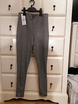 £2.99 • Buy F&F Black & White Dog Tooth Check Pull On Slim Leg Trousers Size 8