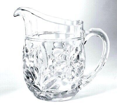 £9 • Buy Vintage Milk Jug Clear Glass Deep Cut Style With Pretty Flower And Leaf Pattern