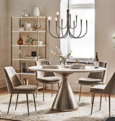 AU1800 • Buy West Elm Large Round Marble And Brass Dining Table