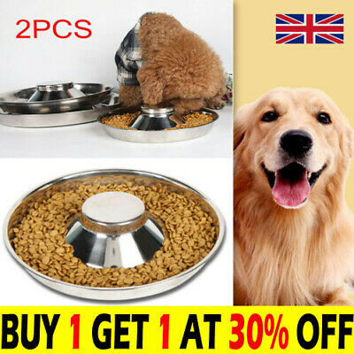 £14.25 • Buy 2X Puppy Pet Cat Litter Food Feeding Weaning Silver Stainless Feeder Bowl Dish