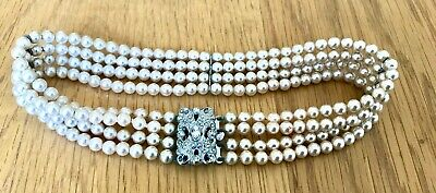 £40 • Buy Vintage / Antique Pearl Choker Necklace 4 Strings, Front Clasp. Stunning Piece