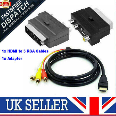 £7.99 • Buy 1080P HDMI S-video To 3 RCA AV Audio Cable With SCART To 3RCA Phono Adapter UK
