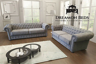 £469.99 • Buy Chesterfield Sofa Set IMPERIAL Fabric 3+2 Seater Suite Grey Cream Silver Teal