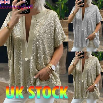 £15.45 • Buy Women Casual Sequin T Shirt Short Sleeve Low-cut V Neck Blouse Loose Top Summer