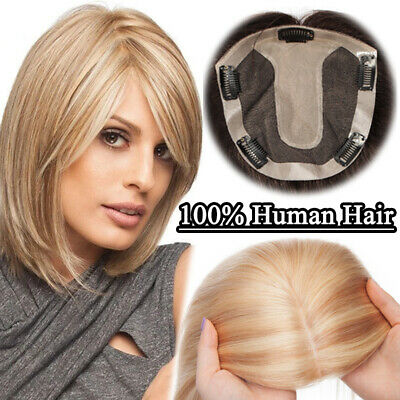 £52.97 • Buy Clip In 100% Human Hair Top Topper Toupee Cover Hairpiece Wig Women Silk Base UK