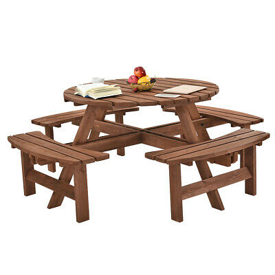 £285.99 • Buy 8 Seater Wooden Round Picnic Table & Bench Chair Set Garden Patio Furniture UK