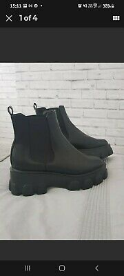 £7 • Buy Black Chunky Flat Form Sole Chelsea Ankle Boots Size UK 8 EU 41