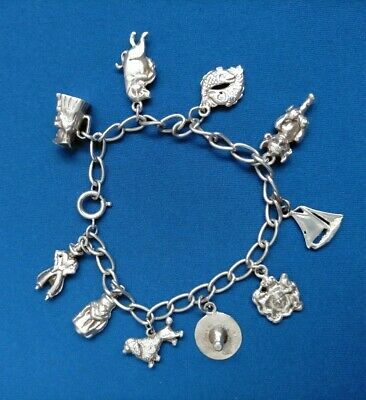 £39.99 • Buy VINTAGE STERLING SILVER CHARM BRACELET WITH 10 CHARMS 32 G -7.5 INCH
