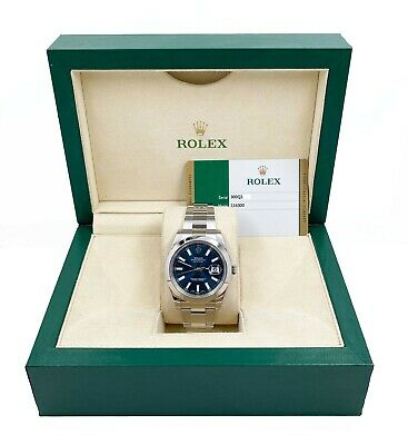 $ CDN12582.20 • Buy Rolex 116300 Datejust 41 Blue Index Dial Stainless Steel Box Papers 2017