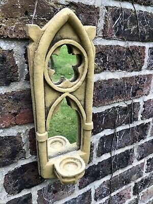 £0.01 • Buy Gothic Arch Mirror Single Candle Sconce Stone Home Garden Ornament 33cm