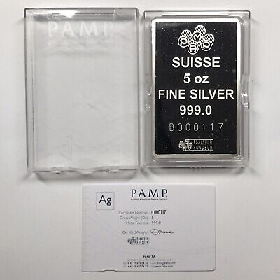 £179.80 • Buy Pamp Suisse Lady Fortuna 5 Oz Silver Bar With Box & COA #B000117