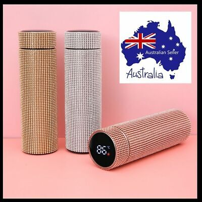AU30 • Buy 500ml  Rhinestone Stainless Steel Water Bottle Thermos With Temperature Display