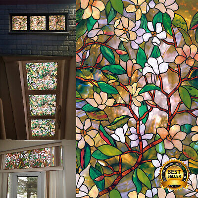 £9.65 • Buy SUMMER MAGNOLIA Privacy Stained Glass Decorative Window Film 45x100 Floral Decor