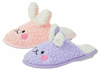 £6.99 • Buy Girls Fluffy Slippers Bunny Rabbit Mouse Kids Cute 3D Open Back House Shoes Size