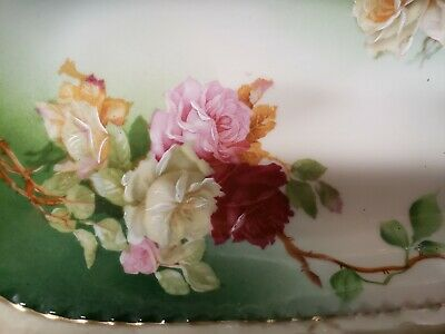 $22 • Buy Beautiful Vintage Green Trinket/Candy Dish Multi Color Roses Marked M.Z. Austria