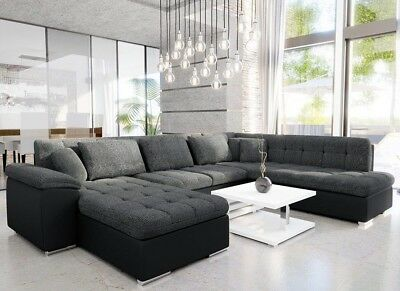 £1010 • Buy U-Shaped Corner Sofa Bed With Storage New Springs Faux Leather Fabric NIKO BIS
