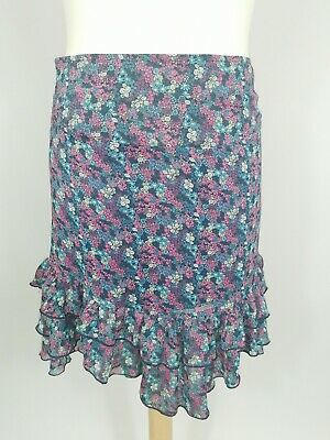 £16 • Buy Mistral Pink Blue Floral Chiffon Frilly Evening Party Flare Skirt Size 12