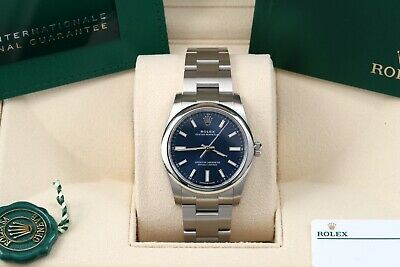 $ CDN8495.98 • Buy Rolex Oyster Perpetual 34 Blue Index Oyster Domed Box/Papers/Card 124200