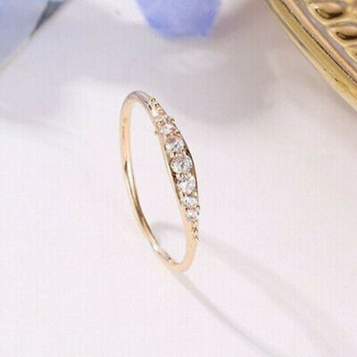 £2.55 • Buy 18k Yellow Gold Plated Rings Fashion Cubic Zirconia Engagement Jewelry Size 6-10