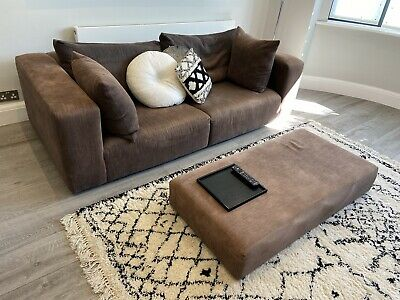 £425 • Buy Heals Grey Brown Sofa 4 Seater And Stool