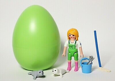 £4.99 • Buy Playmobil Keeper With Seal Babies (9418) Green Easter Egg Zoo Animals Figures