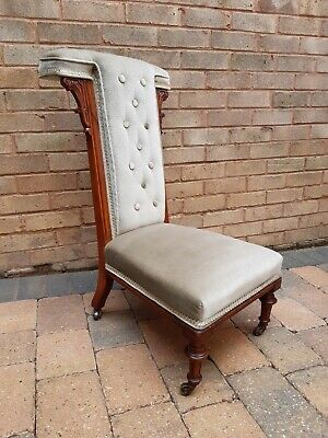 £75 • Buy Bedroom Chair. Walnut Frame Upholstered Button Back Victorian Prie Dieu Chair