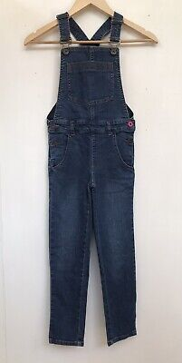 £15 • Buy JOULES Girls' Mid Blue Cotton Denim Dungarees Size 7 - 8 Years