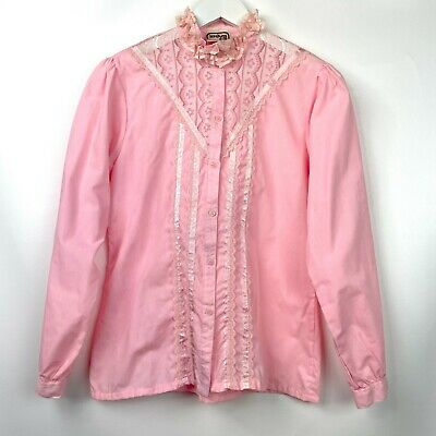 £15.85 • Buy Vintage 70s Women's Edwardian Style Pink Long Sleeve Button Down Blouse
